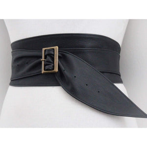 Black Leather Obi Buckle Belt - loveyaayaa
