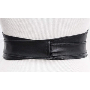 Black Leather Obi Silver Buckle Belt - loveyaayaa