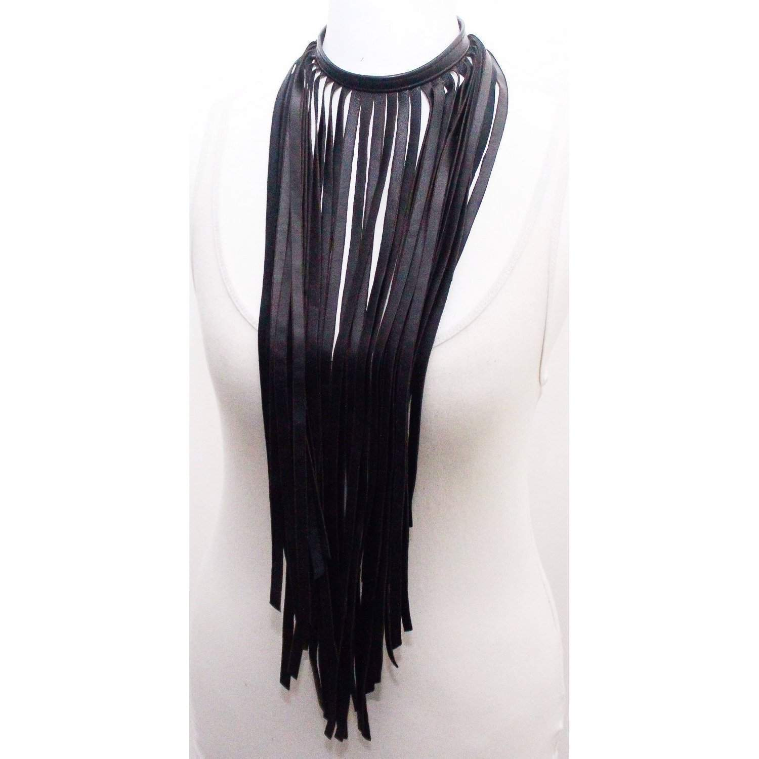 Black Leather Statement Necklace | Fringe Necklace - loveyaayaa