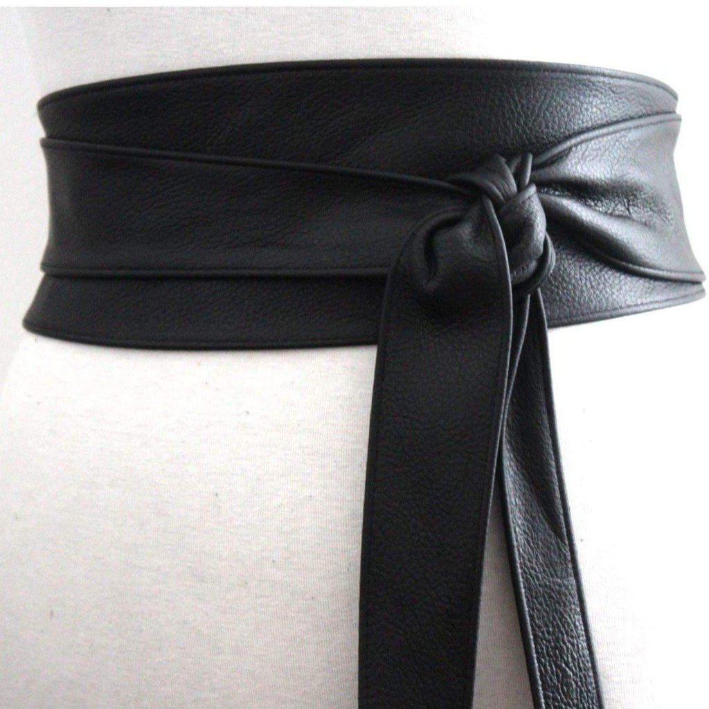 Black Obi Belt | Black Leather Belt - loveyaayaa