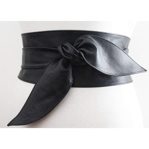 Black Obi Belt | Black Leather Wrap Belt - loveyaayaa