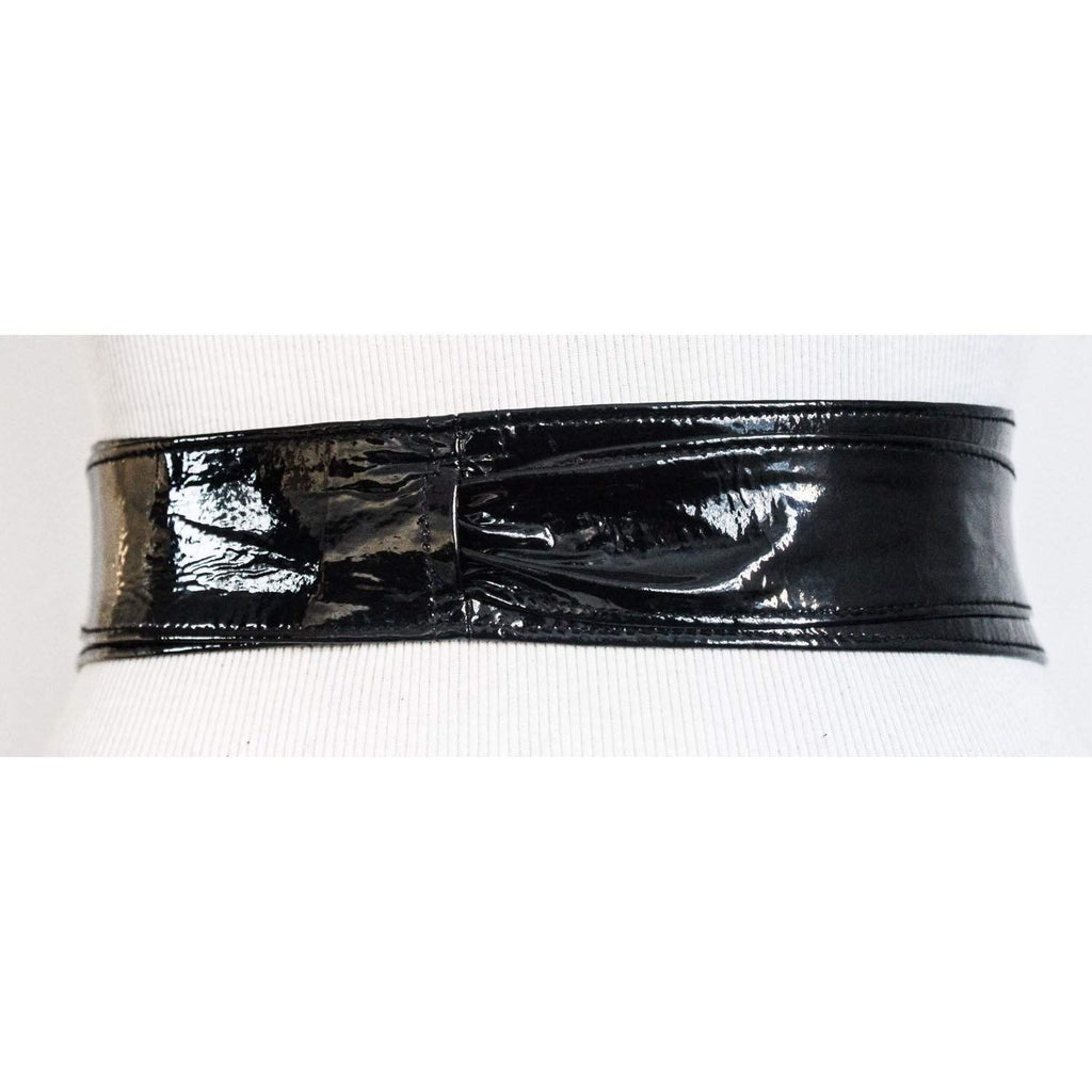Black Patent Leather obi Belt - loveyaayaa