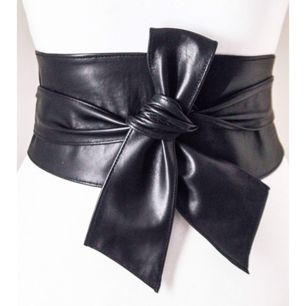 Black Sash Belt | Leather Obi belt - loveyaayaa