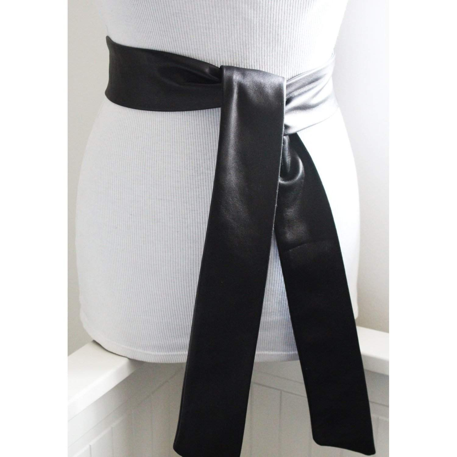 Black Soft Leather Coat Tie Belt | Leather Narrow Belt | Leather Replacement belt - loveyaayaa