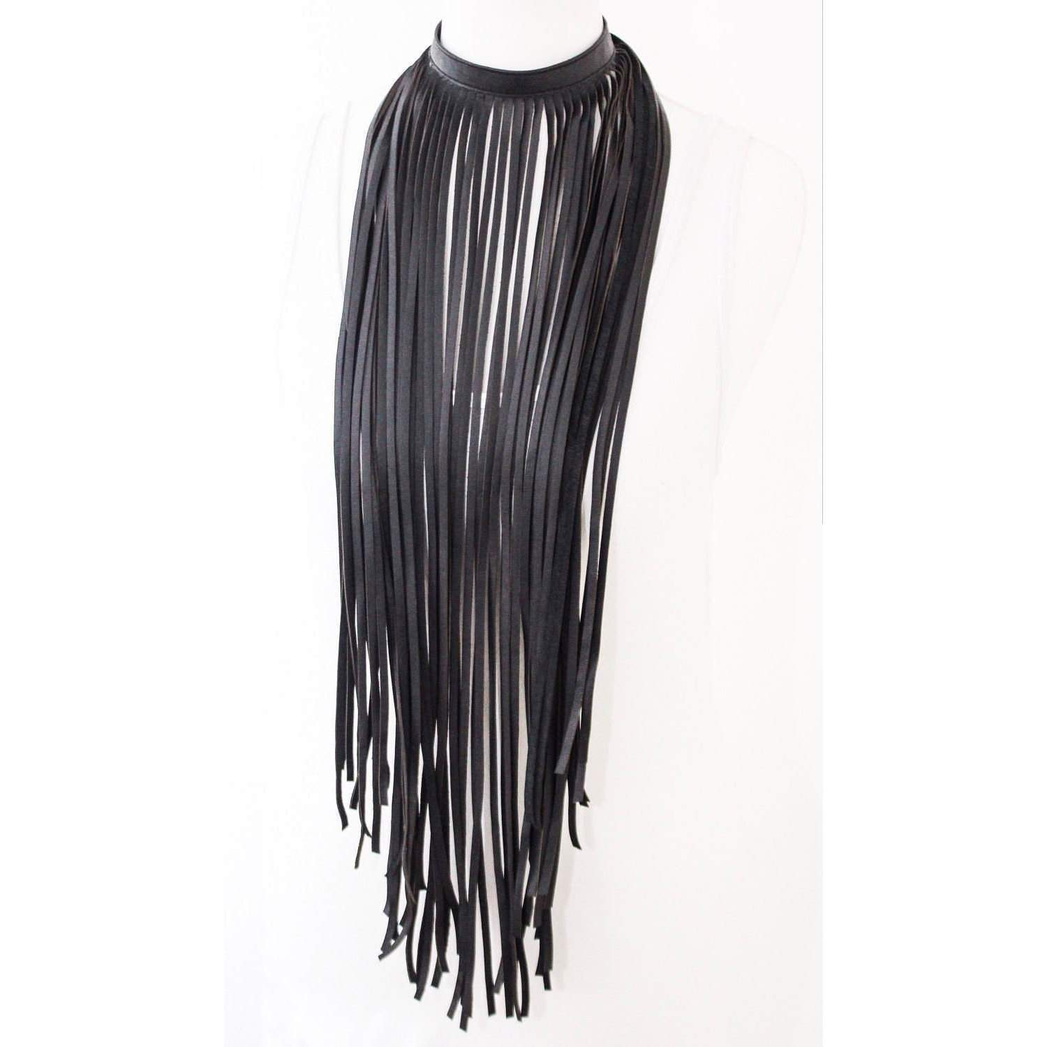 Black Soft Leather Fringe Necklace - loveyaayaa