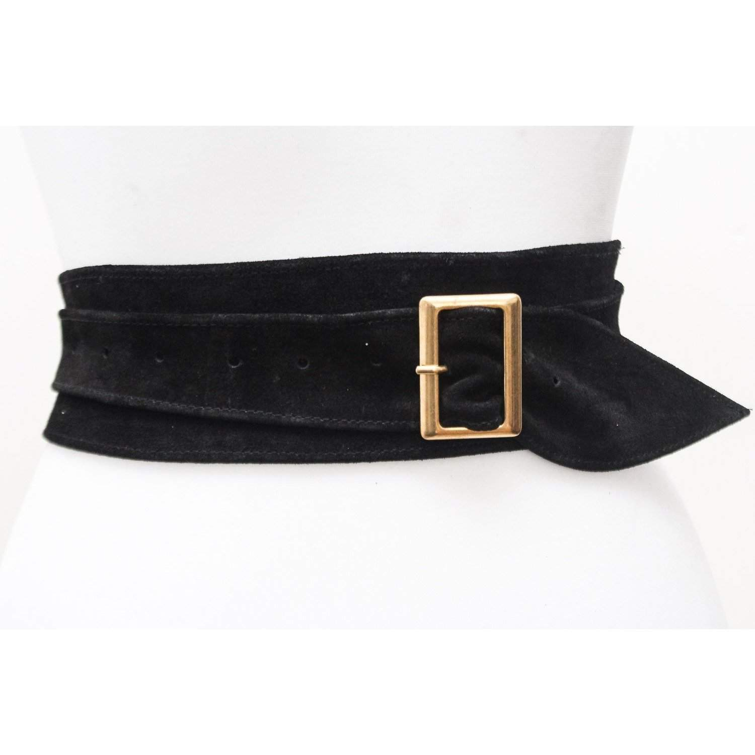 Black Suede Obi Buckle Belt - loveyaayaa