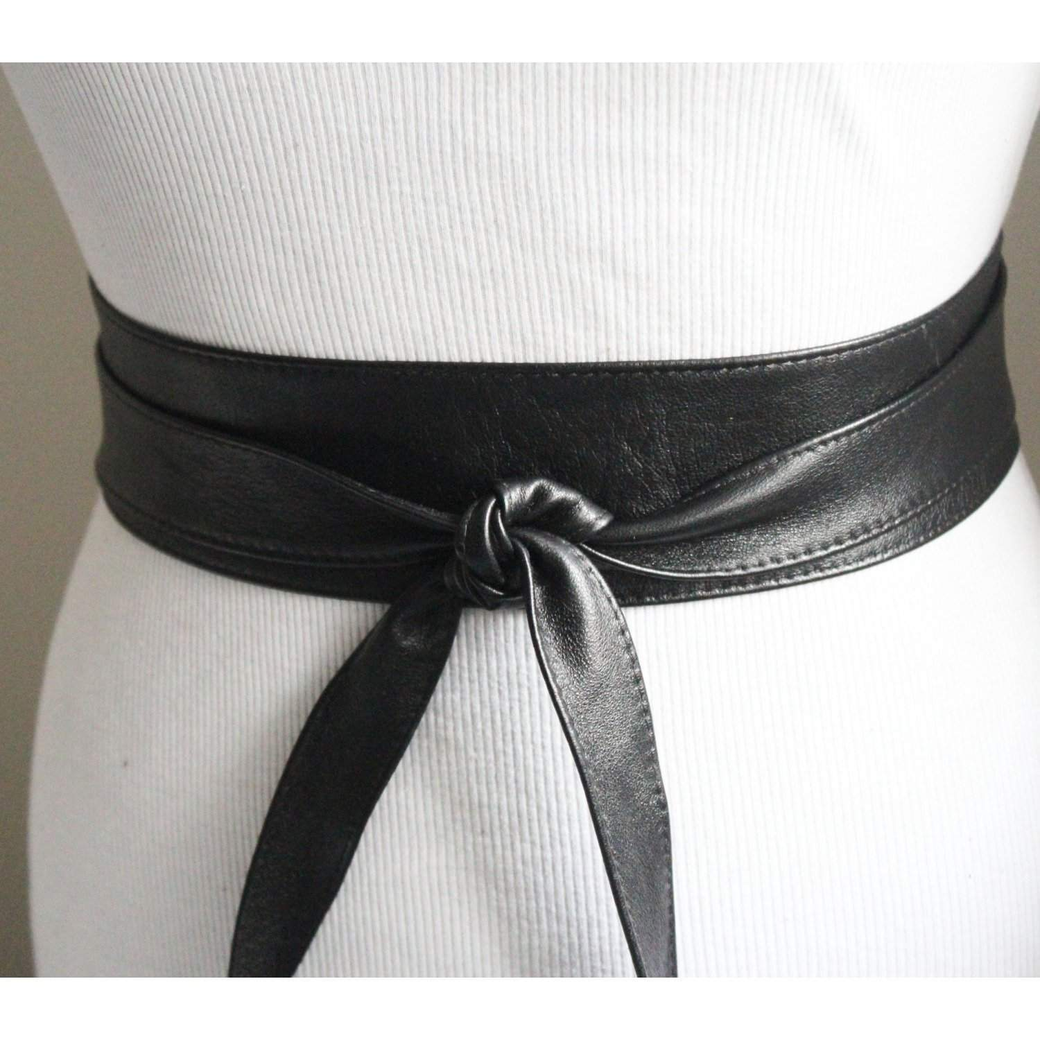 Black Thin Leather Belt | Soft Obi Belt - loveyaayaa