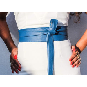 Blue Leather Obi Belt - loveyaayaa