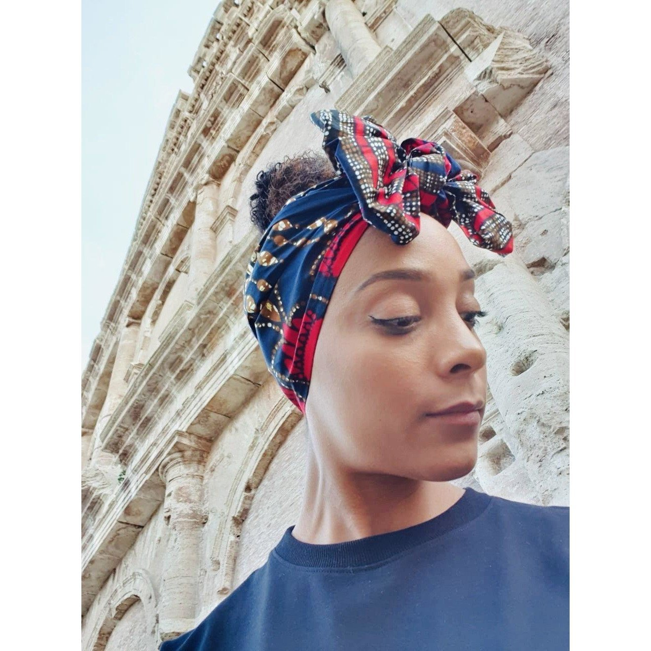 Blue Turban Wax Print Headwrap | African Wax Headwrap - loveyaayaa