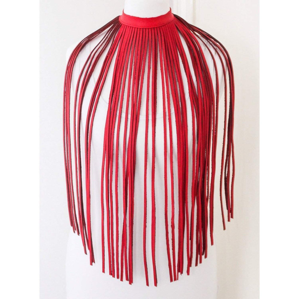 Bright Red Leather Fringe Necklace | Statement Necklace - loveyaayaa