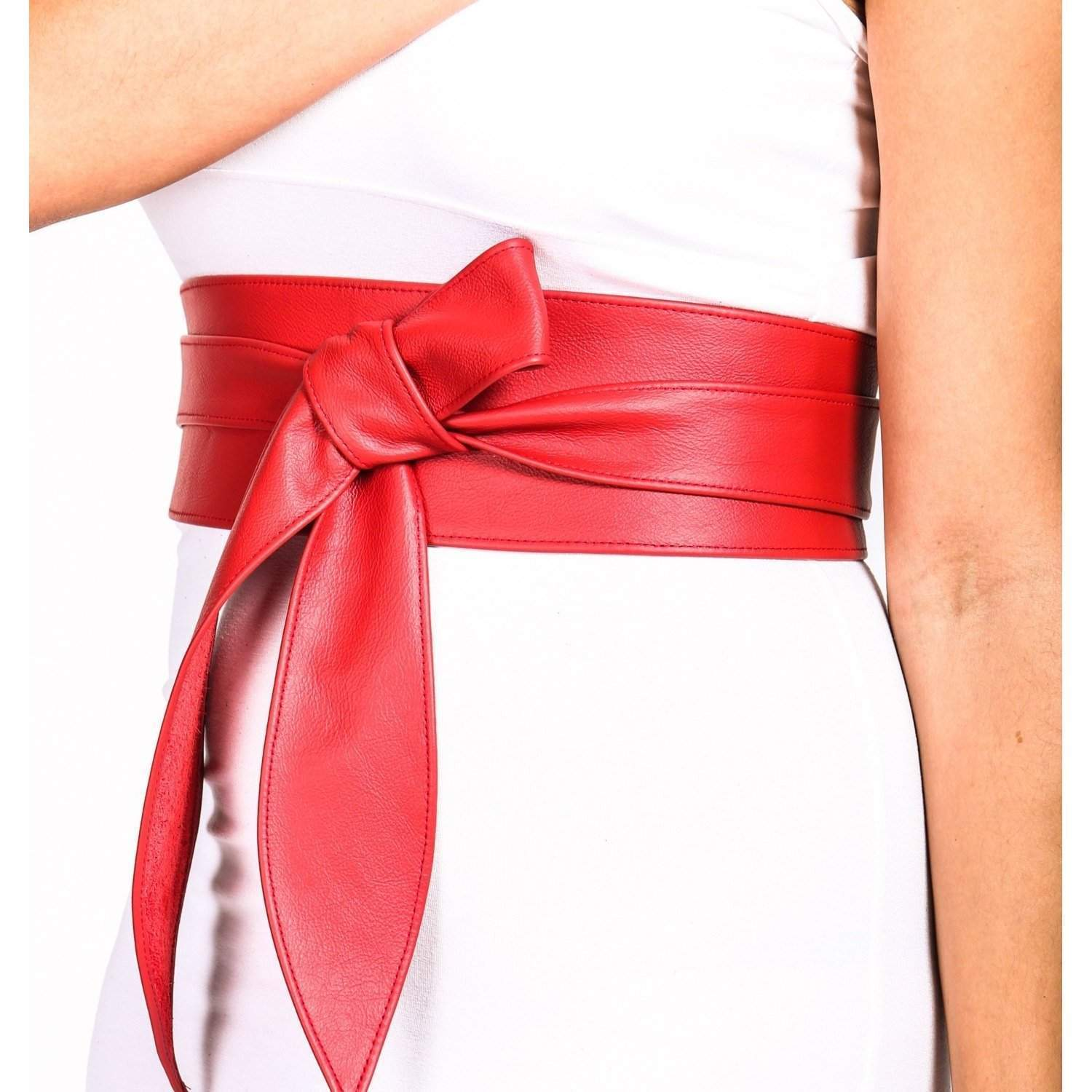 Bright Red Leather Obi Belt - loveyaayaa