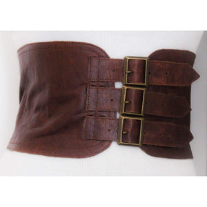 Brown Corset Leather Three Buckle Belt - loveyaayaa