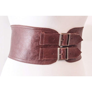 Brown Corset Leather Two Gold Buckle Belt - loveyaayaa