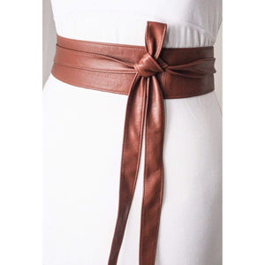 Brown Soft Belt Obi Leather wrap tie| Leather Obi belt | Corset Belt | Waist Belt | Brown Leather Belt | Petite to Plus size belts - loveyaayaa