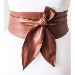 Brown Soft Leather Obi Belt tulip tie| Wedding Western style Outfit | Bridesmaids belt | Waist Cinching Belt | Petite to Plus Size belts - loveyaayaa