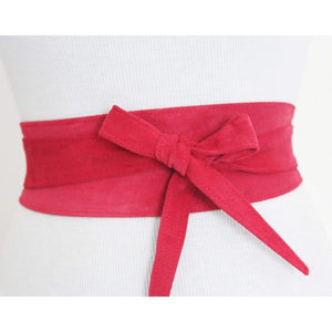 Cerise Pink Red Suede Obi Belt - loveyaayaa