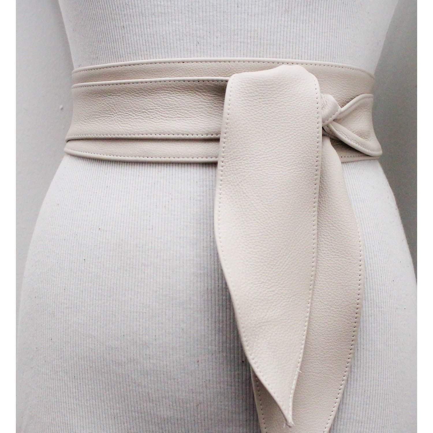 Cream Leather Obi Belt tulip tie| Obi Sash Belt | Leather Tie Belt | Real Leather Belt| Handmade Belt | Plus size belts| various sizes - loveyaayaa