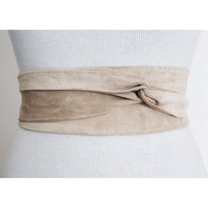 Cream Suede Leather Obi Belt | Waist Tie Belt | Plus Size Belts | Obi belt | Leather Corset Belt - loveyaayaa