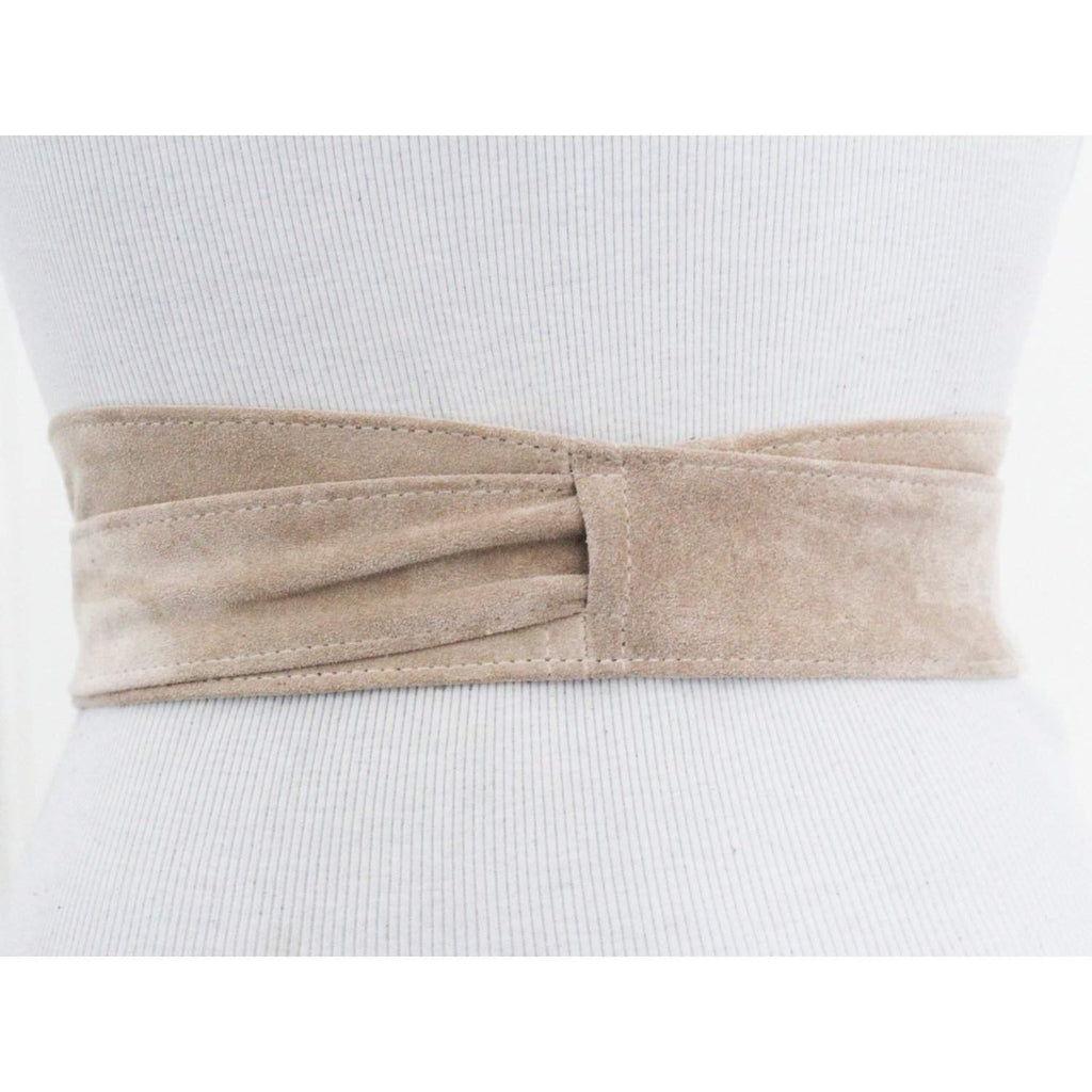Cream Suede Leather Wrap Belt - loveyaayaa