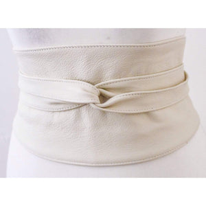 Cream Wide Leather Belt | Wide Corset Belt | Leather obi belt | Waist Belt | Petite to Plus size belts - loveyaayaa