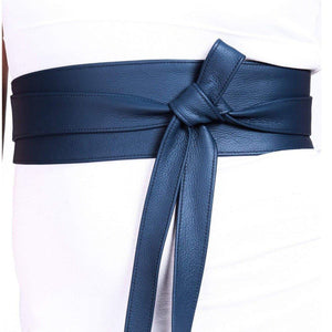 Dark Blue Leather Obi Belt - loveyaayaa