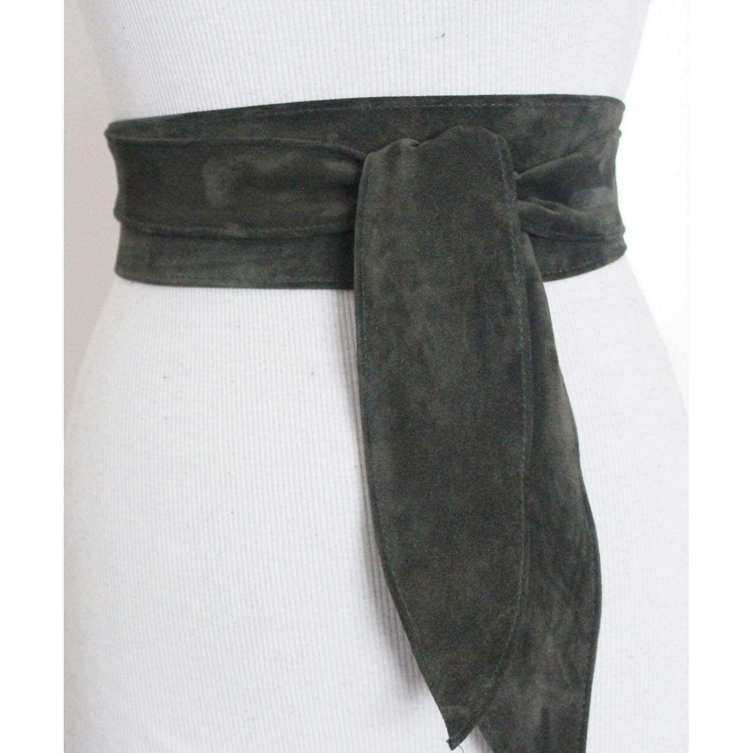 Dark Green Suede Leather Obi Belt tulip tie| Waist Belt | Leather tie belt | Suede Belt| Plus size belts - loveyaayaa