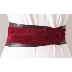 Dark Red Obi Leather Suede Belt - loveyaayaa