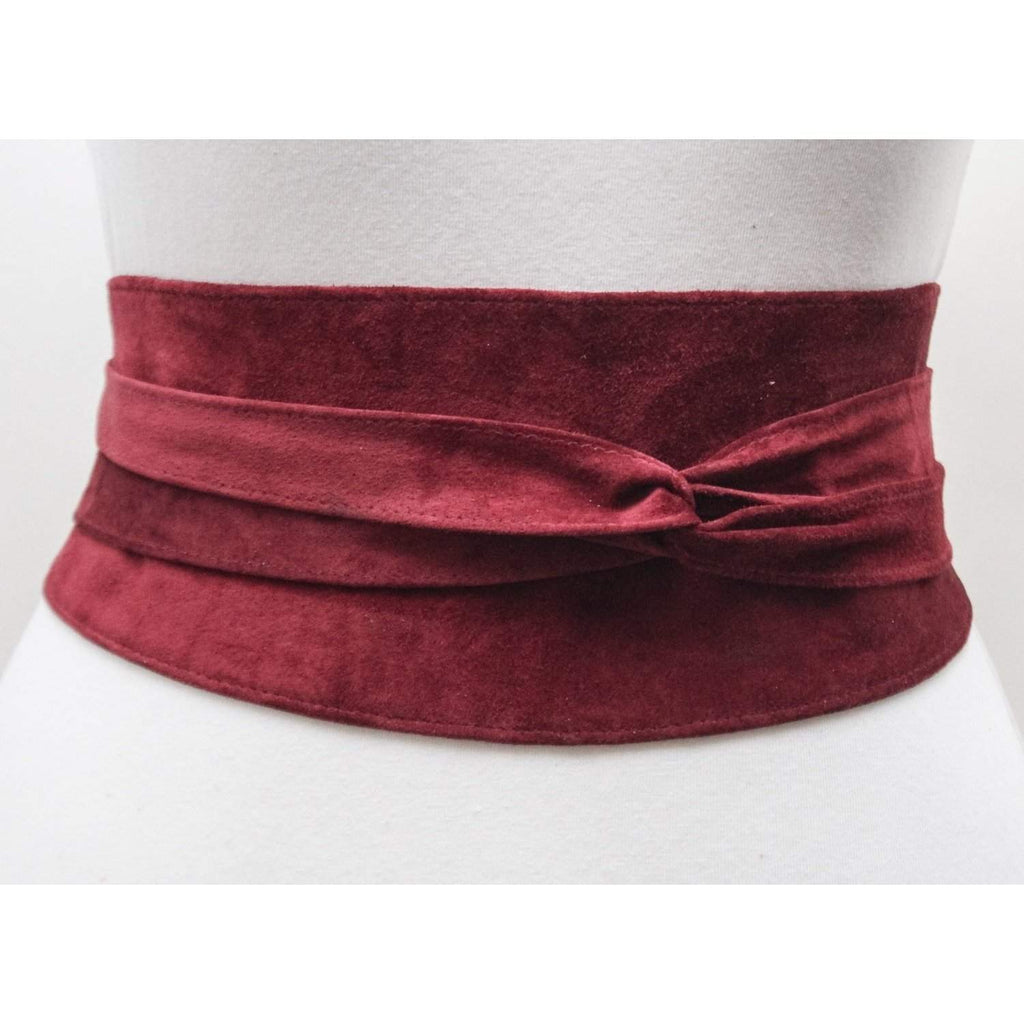 Dark Red Suede Obi Belt - loveyaayaa