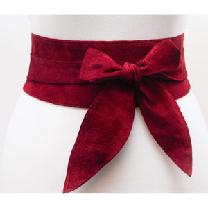 Dark Red Suede Tulip tie Obi Belt - loveyaayaa