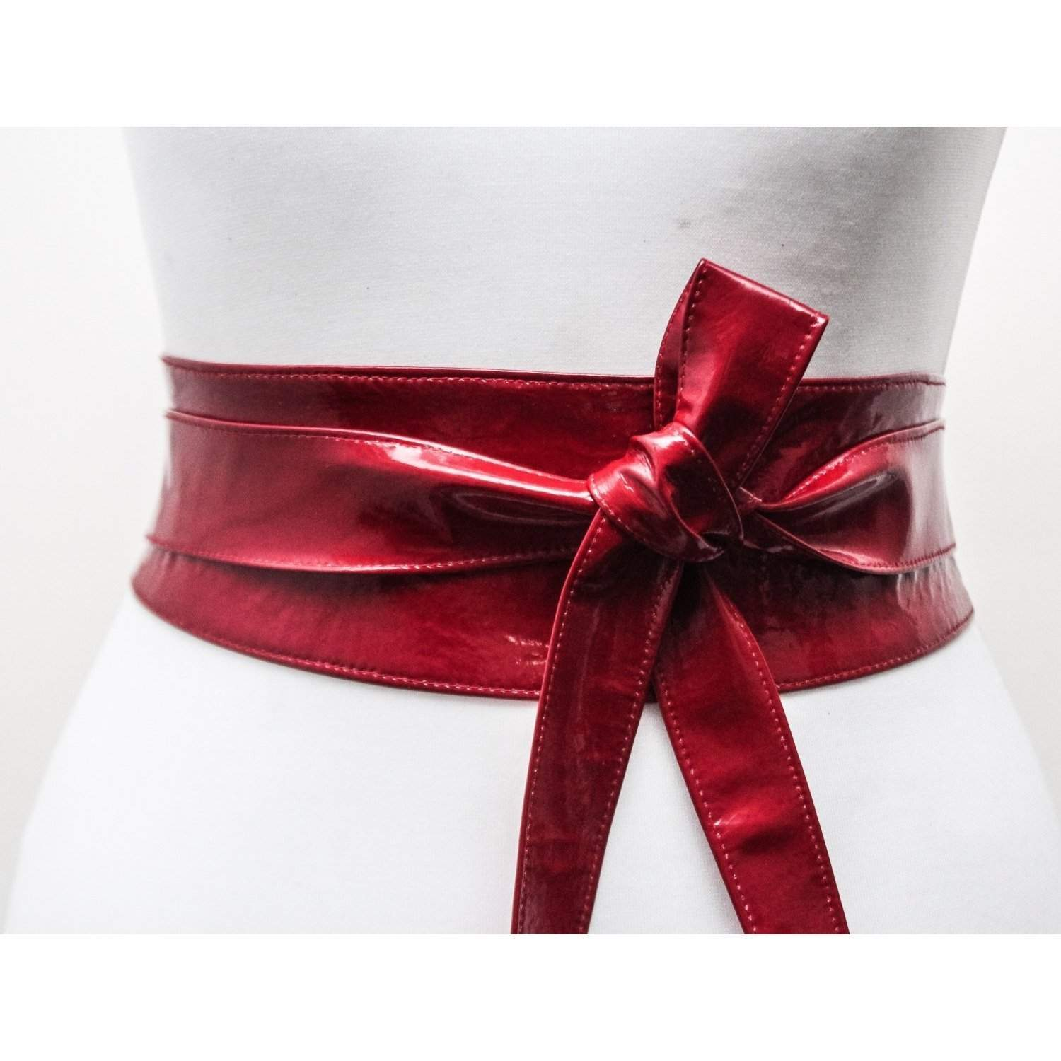 Deep Red Patent Leather wrap  Belt - loveyaayaa