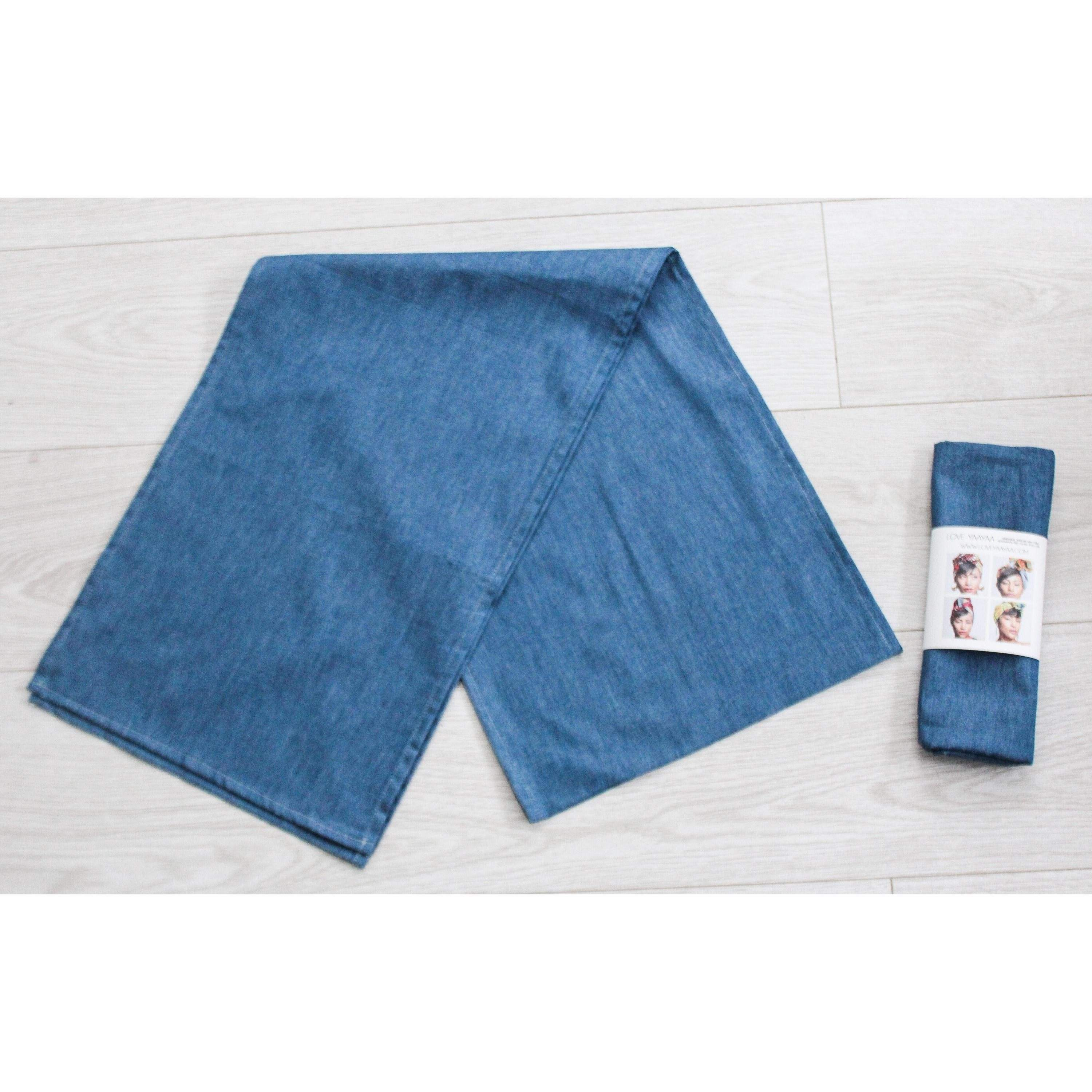 Denim Headwrap | Denim Blue hairscarf - loveyaayaa