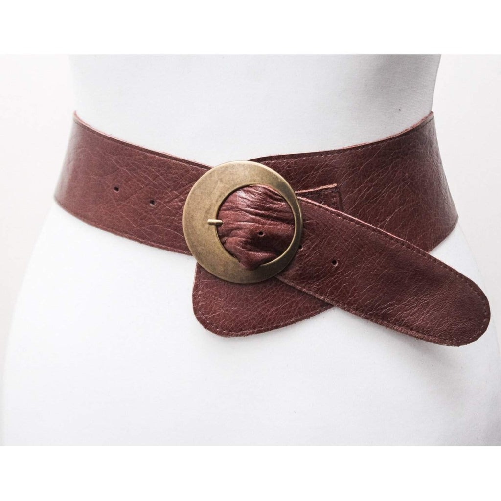 Distressed Brown Buckle Belt - loveyaayaa