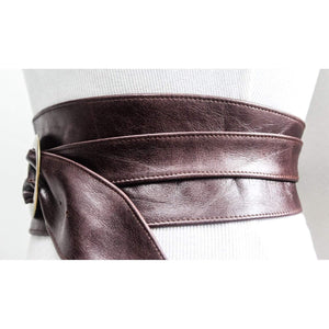 Distressed Dark Brown Leather Obi Buckle Belt - loveyaayaa