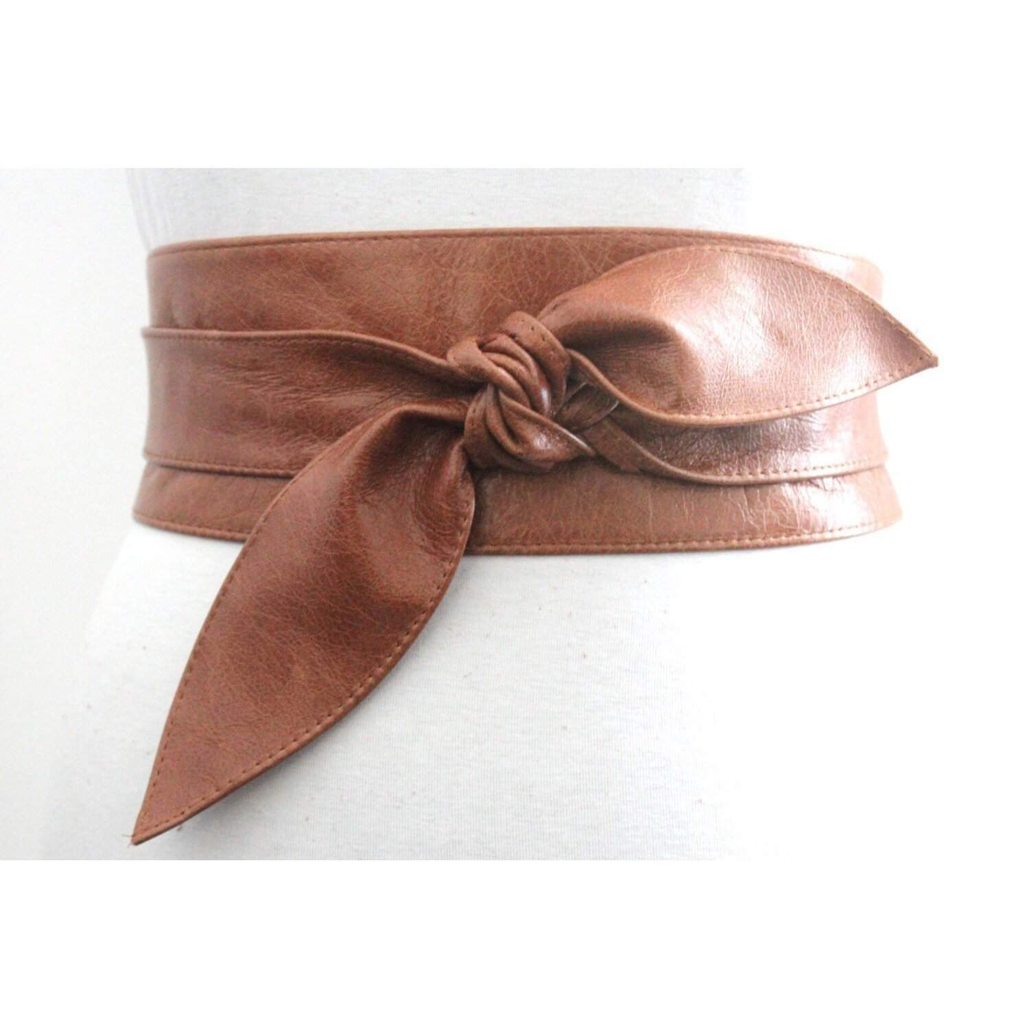 Distressed Tan Brown Leather Obi Belt, tulip tie Belt, Western Leather Belt, Corst Leather Belt, Bridesmaid belt, Plus Size Belt - loveyaayaa