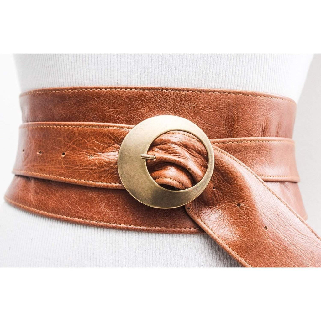 Distressed Tan Brown Leather Obi Buckle Belt - loveyaayaa