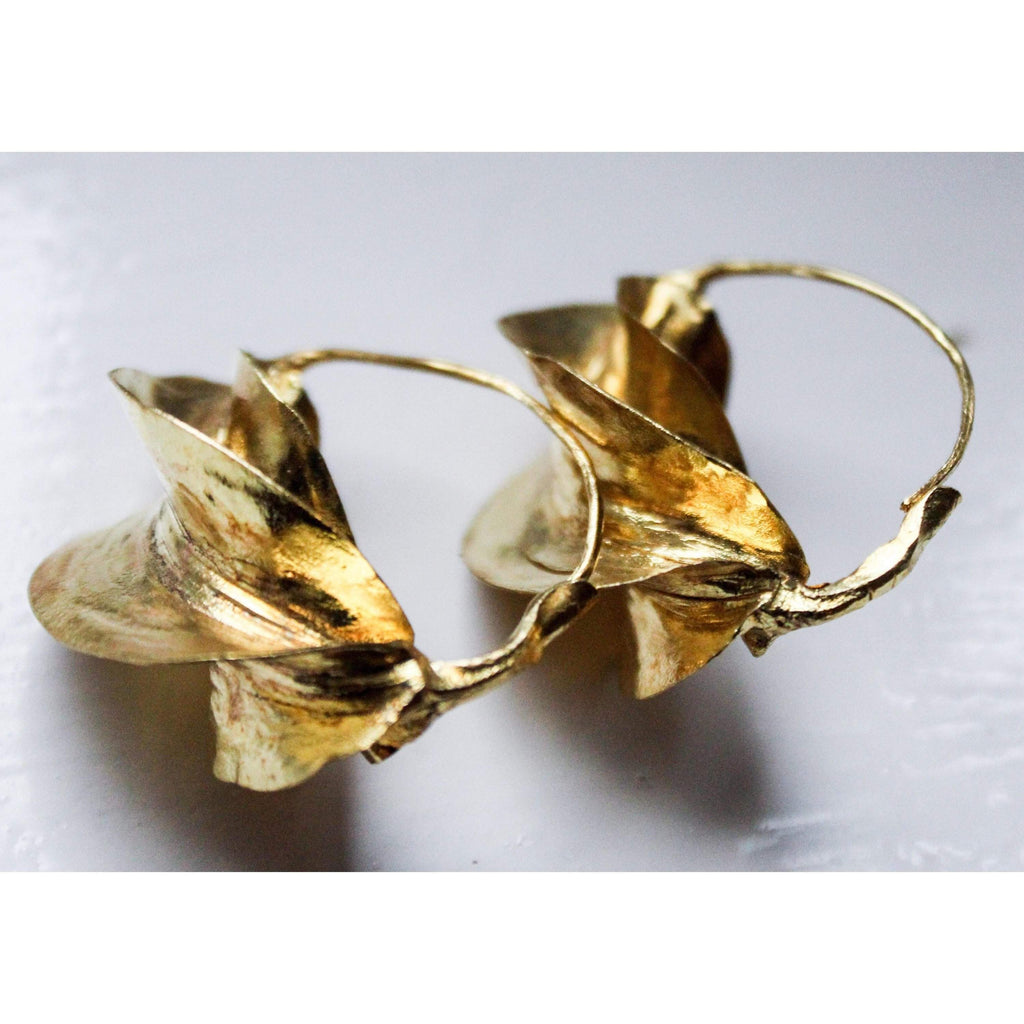 Fulani Earrings Gold Brass / African Tribal Earrings - loveyaayaa