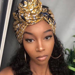 Gold African Wax Print Headwrap