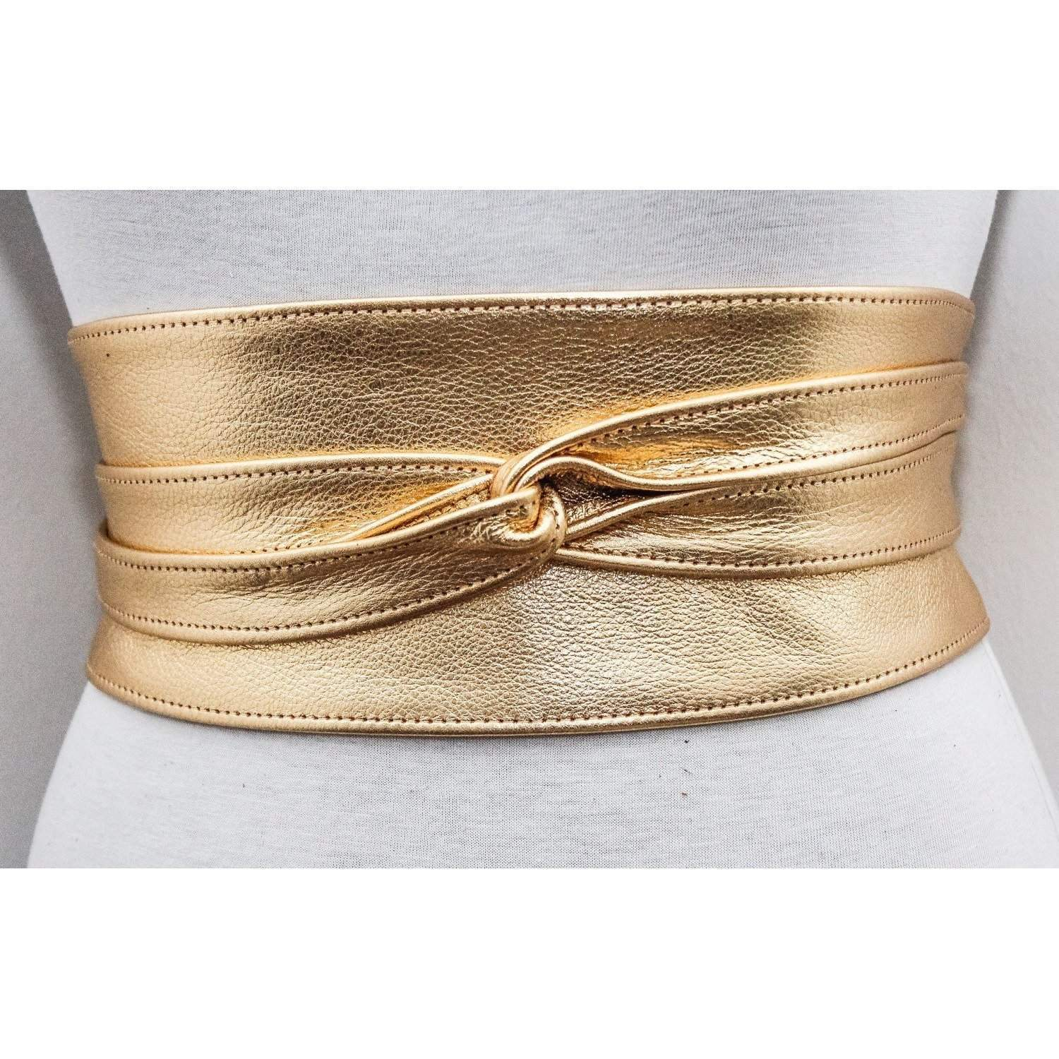 Gold Leather Obi Belt | Gold Bridal Belt | Gold Sash Belt - loveyaayaa