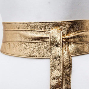 Gold Leather Obi Belt | Gold Bridesmaid Sash | Gold Leather Belt | Gift for Her Leather Gold Belt | Plus size Accessory | Gold Wrap Belt - loveyaayaa