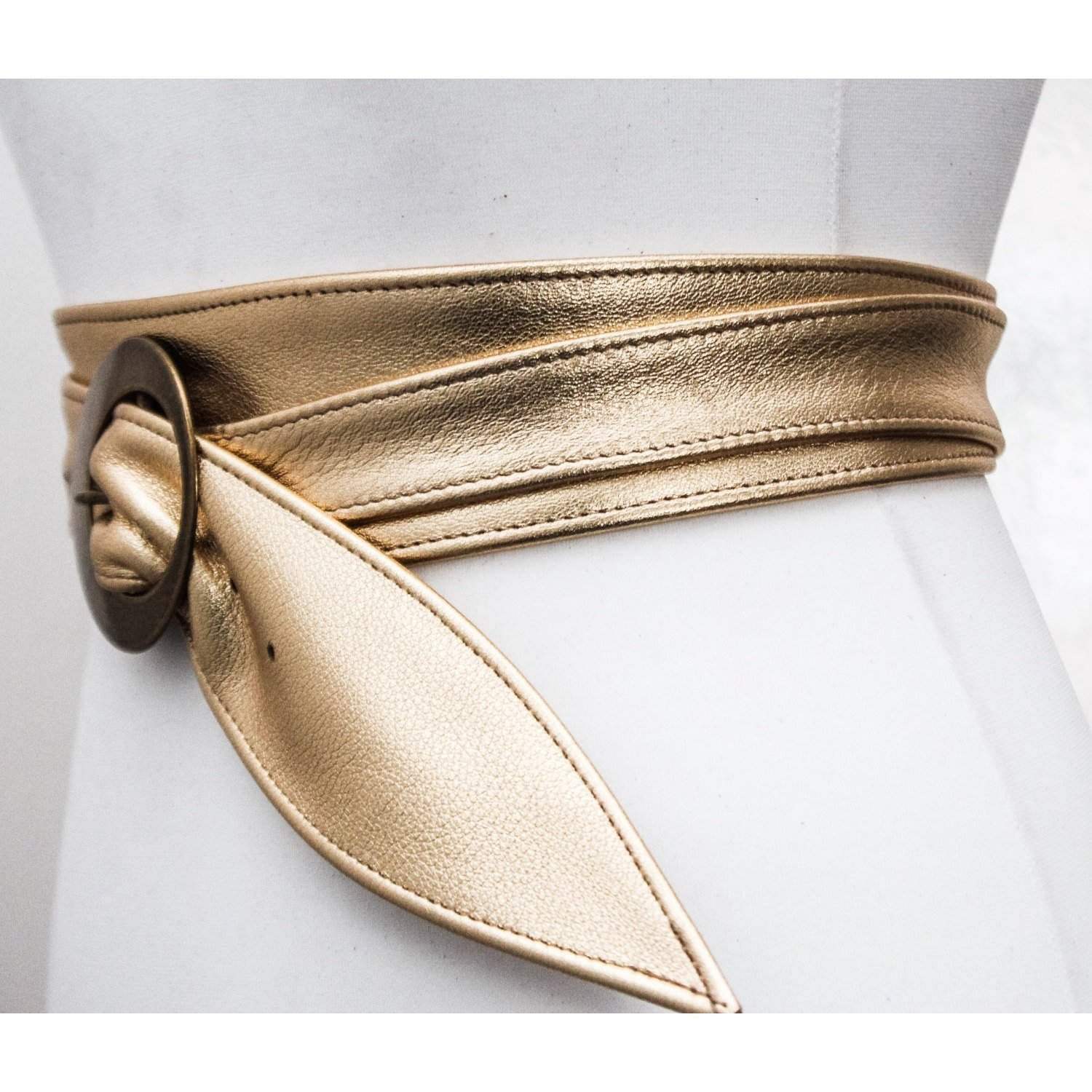 Gold Leather Obi Buckle Belt - loveyaayaa