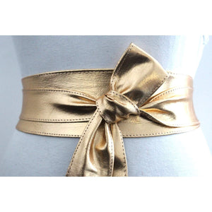 Gold Leather Obi Sash Belt | Bridal Belt | Leather tie belt - loveyaayaa