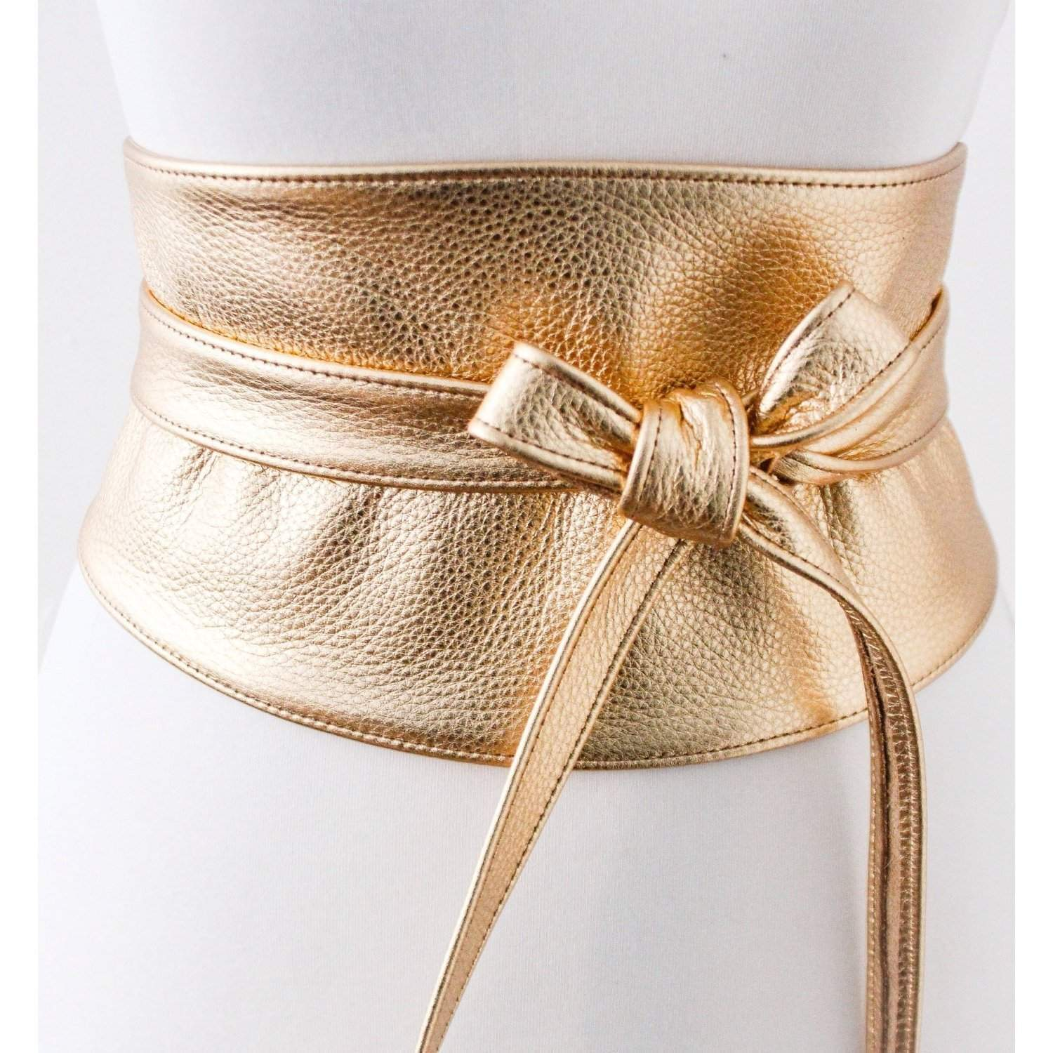 Gold Wide Leather Obi Belt | Wide corset waist Belt | Leather corset belt | Real Leather wrap Belt | Gold Waist Belt | Petite to Plus Size - loveyaayaa