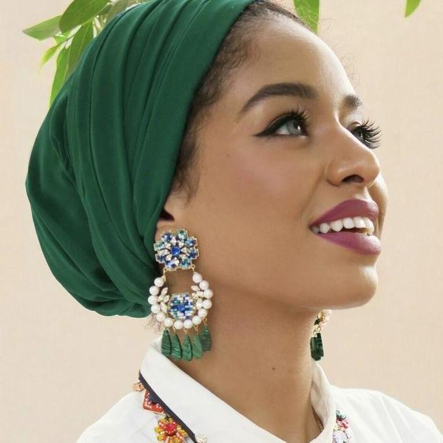 Green Head wrap - Turban headscarf - loveyaayaa