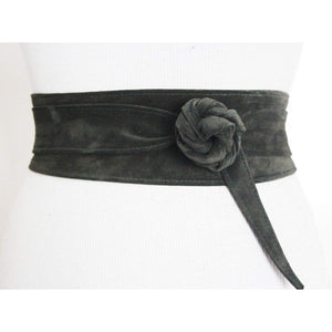 Green Suede Leather Obi Belt - loveyaayaa
