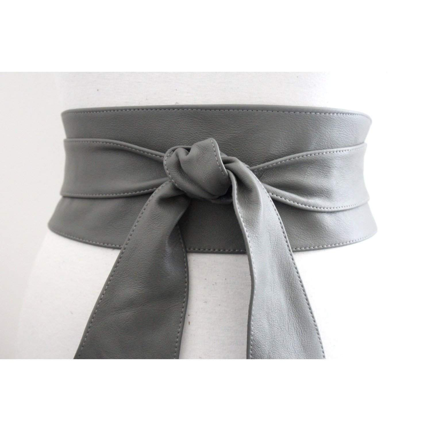 Grey Leather Obi Tulip Tie | Corset Belt | Leather tie belt | Real Leather Belt | Sash Belt | Plus Size - loveyaayaa