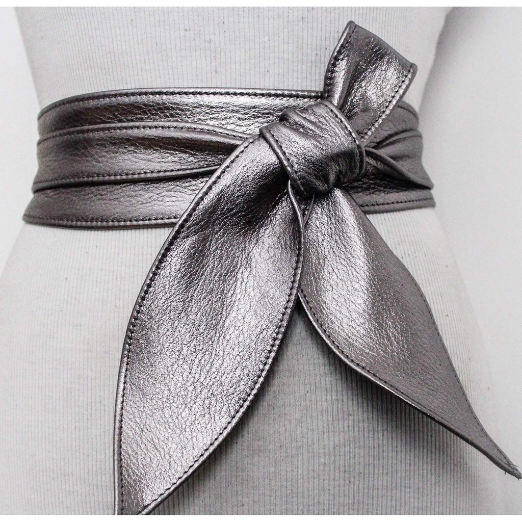 Gunmetal Obi Belt | Leather Obi Belt  | Silver Sash belt | Corset Belt | Real Leather Belt | Obi Belt | Plus Size Accessory | Wrap Tie belt - loveyaayaa