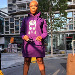 Purple Headwrap hoodie Jumper dress