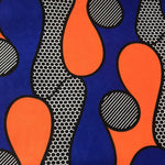Blue and Orange Print Headwrap