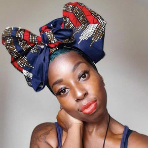 Blue Turban Wax Print Headwrap | African Wax Headwrap