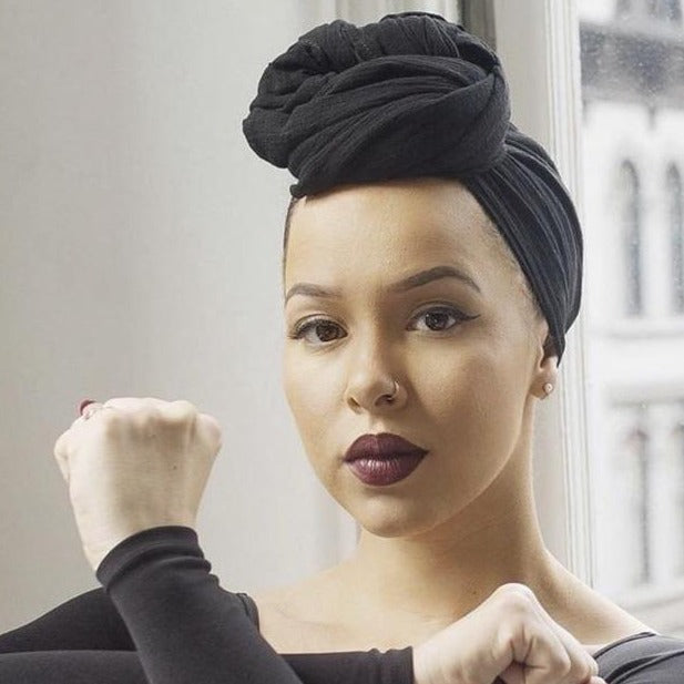 Black Turban Head scarf |  Black Headwrap